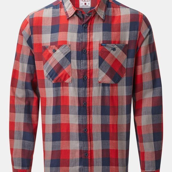 Rab Mens Dusker Long Sleeve Shirt Autumn Red Check