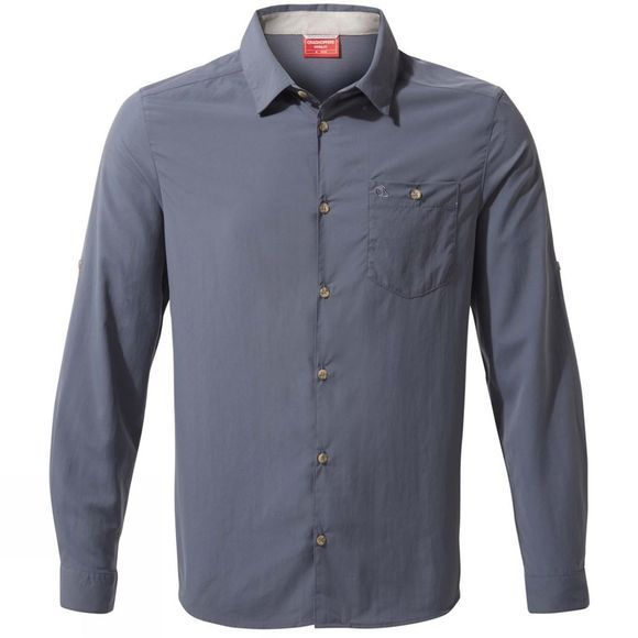 Craghoppers Mens NosiLife Nuoro Long Sleeve Shirt Ombre Blue
