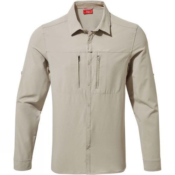 Craghoppers Mens NosiLife Pro III Long Sleeve Shirt Parchment