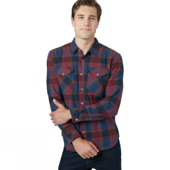 Tentree Bowren Button Up Long Sleeve Shirt Bowren Plaid Red Maple