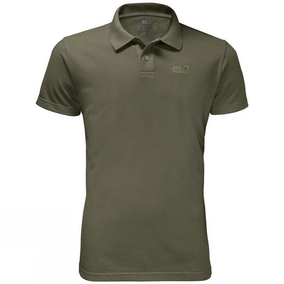 Jack Wolfskin Mens Pique Polo Woodland Green