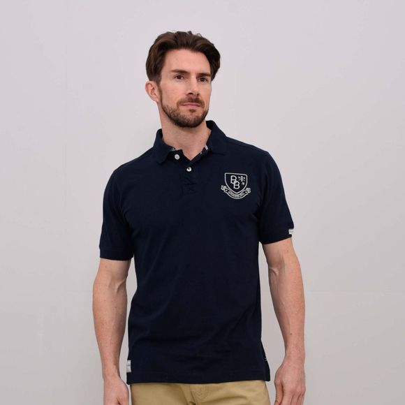 Brakeburn Mens Embroidered Pique Polo Shirt Navy