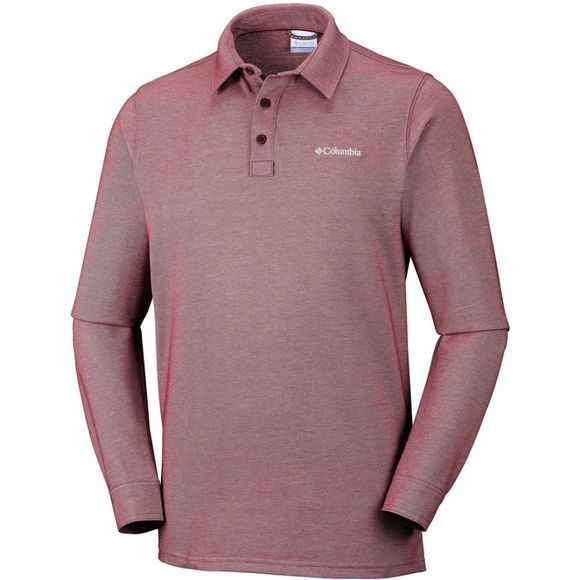 Columbia Mens Pilot Peak Long Sleeve Polo Red Element