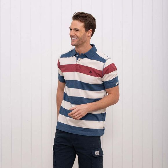 Brakeburn Men's Block Stripe Polo WHITE