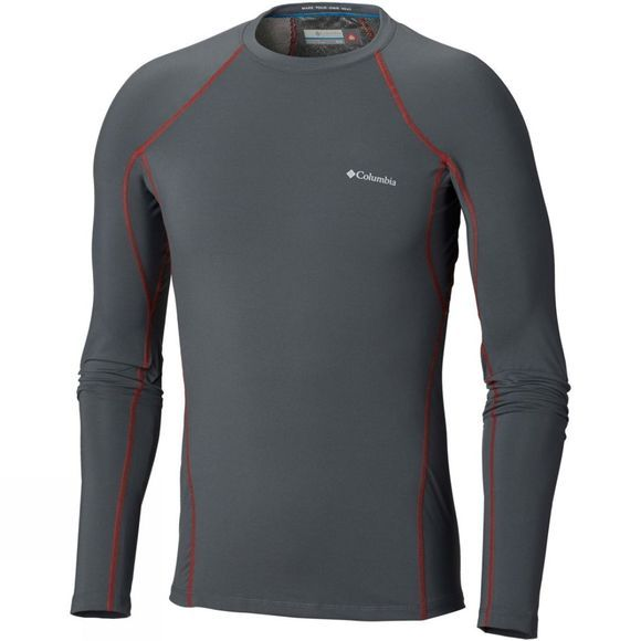 Columbia Mens Midweight Stretch Long Sleeve Tee Graphite/ Red Spark