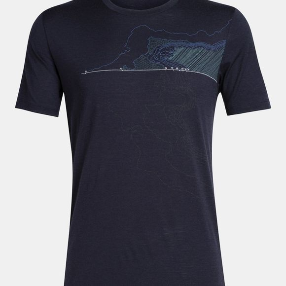 Icebreaker Mens Tech Lite SS Crewe Glacial Lines Midnight Navy
