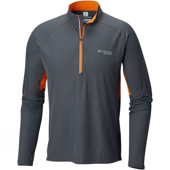 Columbia Mens Titan Ultra Half Zip Shirt Graphite/ Valencia