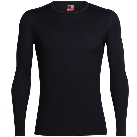 Icebreaker Mens Tech Top Long Sleeve Crewe Black/ Black