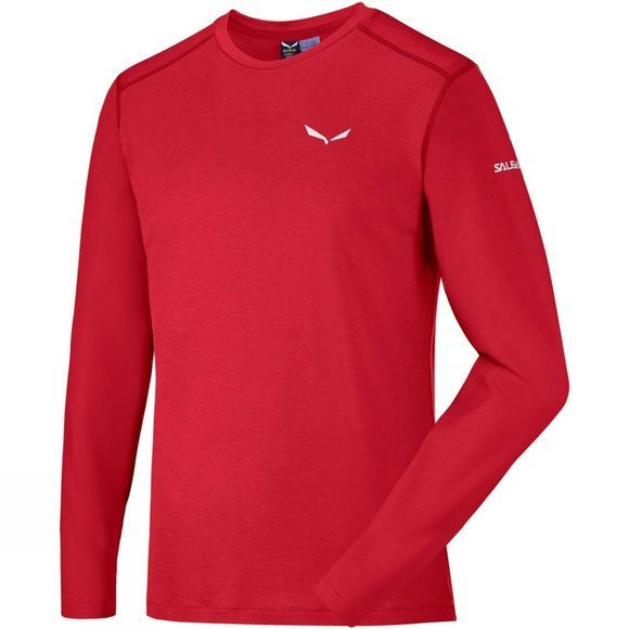 Salewa Mens Sesvenna Wool Long Sleeve Tee Fire