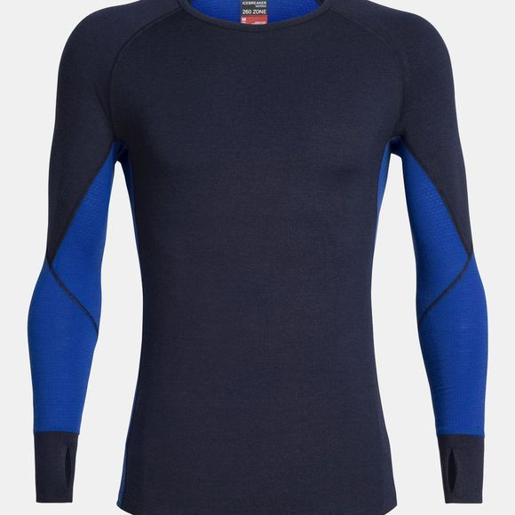 Icebreaker Mens 260 Zone Long Sleeve Crewe Top Midnight Navy/Surf