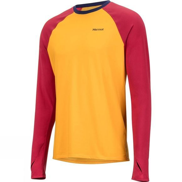 Marmot Mens Lightweight Kestrel Long Sleeve Crew Top Golden Sun/Sienna Red