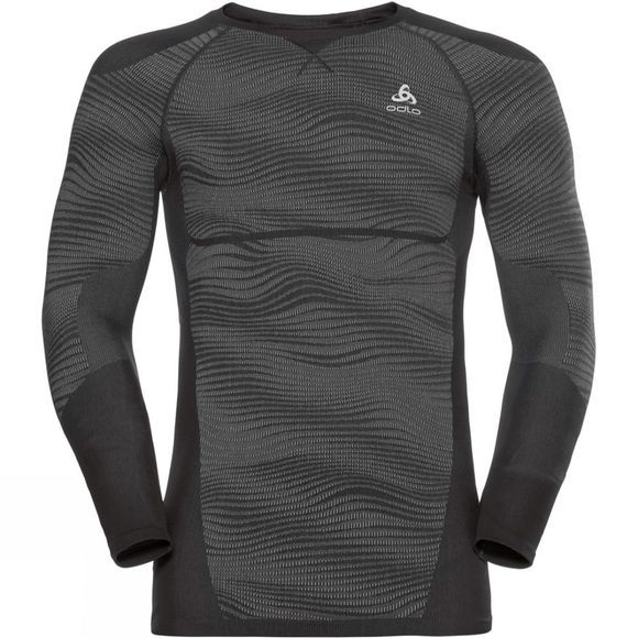 Odlo Mens Blackcomb Long-Sleeve Base Layer Top Black - Odlo Concrete Grey - Silver