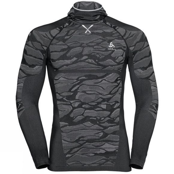 Odlo Mens Blackcomb Long-Sleeve Base Layer Top With Face Mask Black - Odlo Steel Grey - Silver