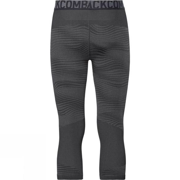 Odlo Mens Blackcomb 3/4 Base Layer Pants Black - Odlo Concrete Grey - Silver