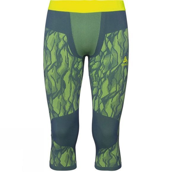 Odlo Mens Blackcomb 3/4 Base Layer Pants Bering Sea - Safety Yellow (Neon) - Safety Yellow (Neon)