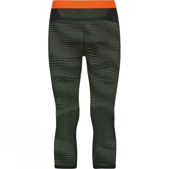 Odlo Mens Blackcomb 3/4 Base Layer Pants Climbing Ivy - Black - Orange Clown Fish