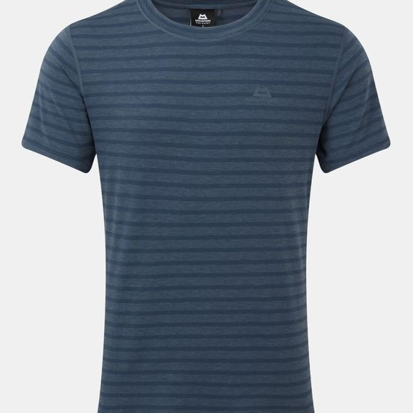 Mountain Equipment Mens Groundup Plain Tee Denim Blue Stripe