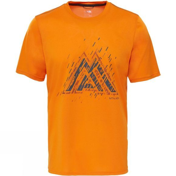 The North Face Mens MA Graphic Reaxion Amp Crew Exuberance Orange Heather