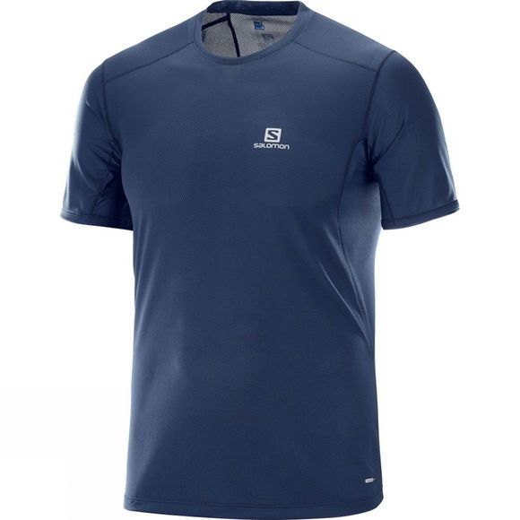Salomon Mens Trail Runner Short Sleeve Tee Dress Blue