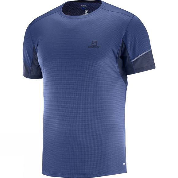 Salomon Mens Agile Short Sleeve Tee Medieval Blue/Night Sky