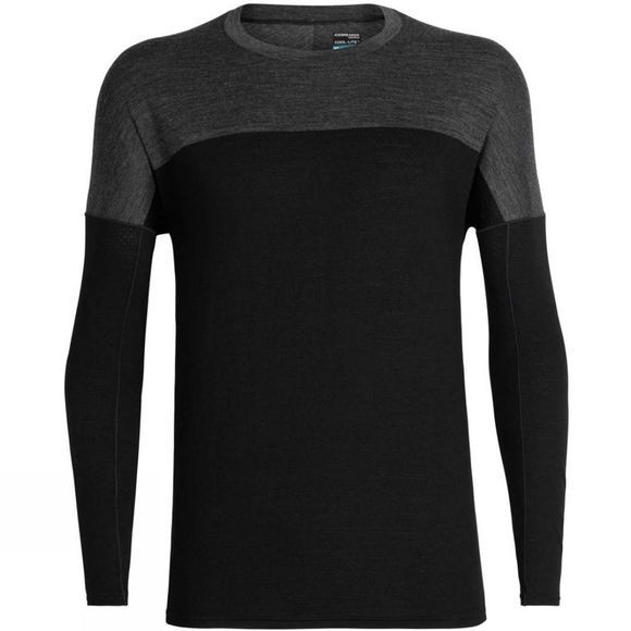 Icebreaker Mens Kinetica Long Sleeve Crewe Top Black/Black Heather