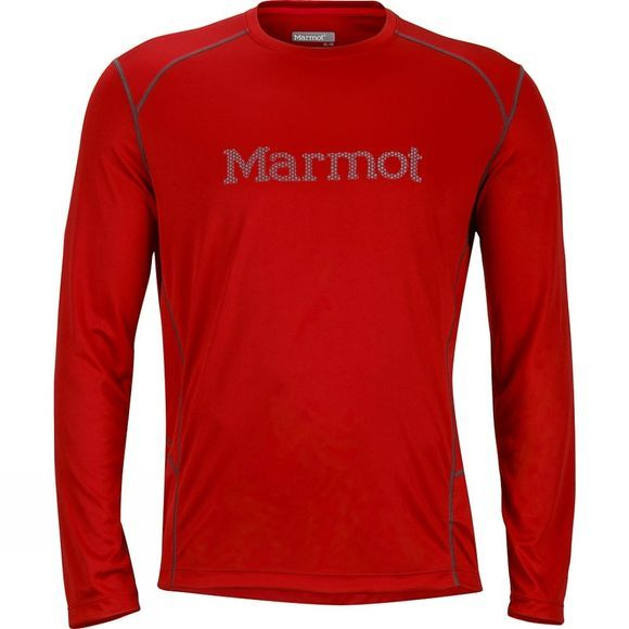 Marmot Mens Windridge Graphic Long Sleeve Top Team Red/Grey Storm