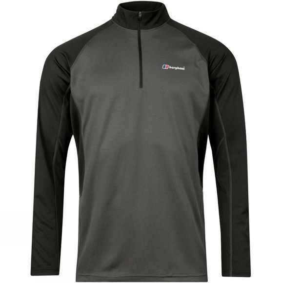 Berghaus Mens Tech Tee 2.0 Long Sleeve Zip T-Shirt Carbon/Black