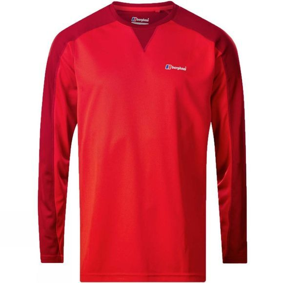 Berghaus Mens Tech Tee 2.0 Long Sleeve Crew Volcano/Haute Red