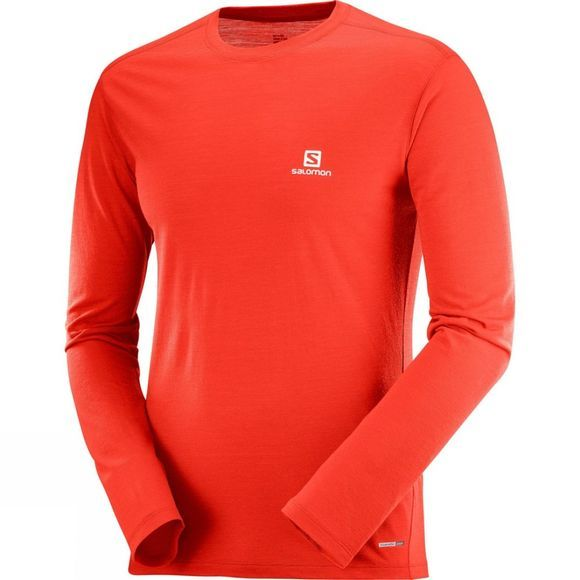 Salomon Mens X Wool Long Sleeeve T-Shirt Fiery Red
