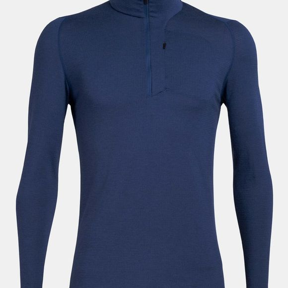 Icebreaker Mens Spring Ridge Long Sleeved Half Zip Estate Blue