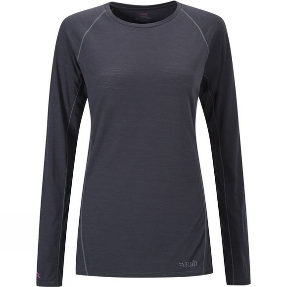 Rab Women's Merino+ 120 Long Sleeve Tee Ebony