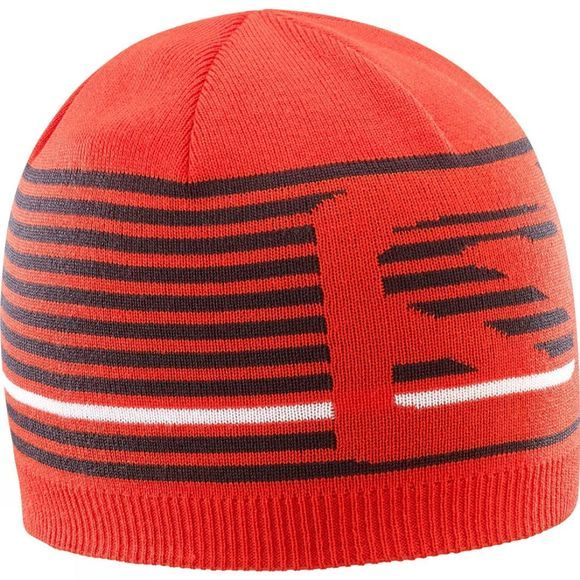 Salomon Mens Flat Spin Short Beanie FIERY RED/BLACK/WHITE