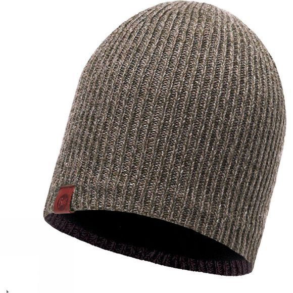 Buff Lyne Knitted Hat Brown Taupe