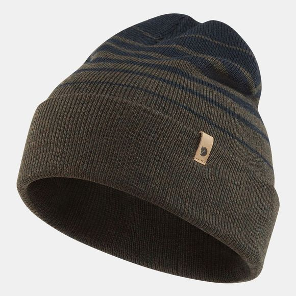 Fjallraven Mens Classic Striped Knit Beanie Dark Olive/Dark Navy