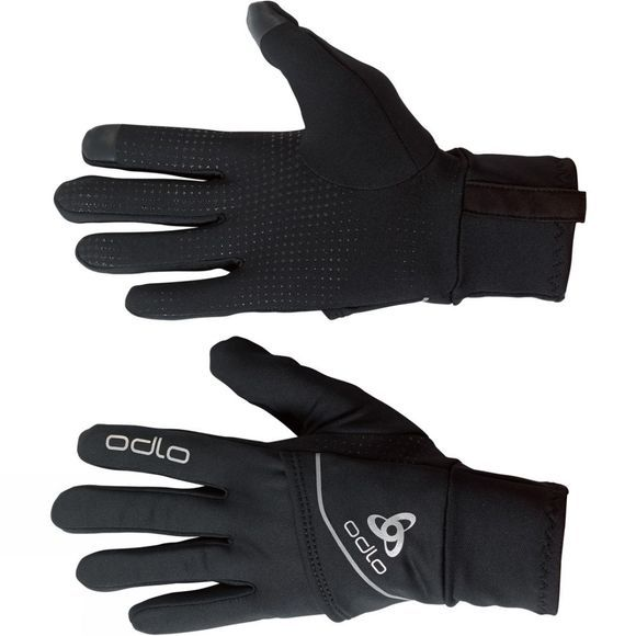 Odlo Intensity Cover Safety Light Gloves Black - Orange Clown Fish