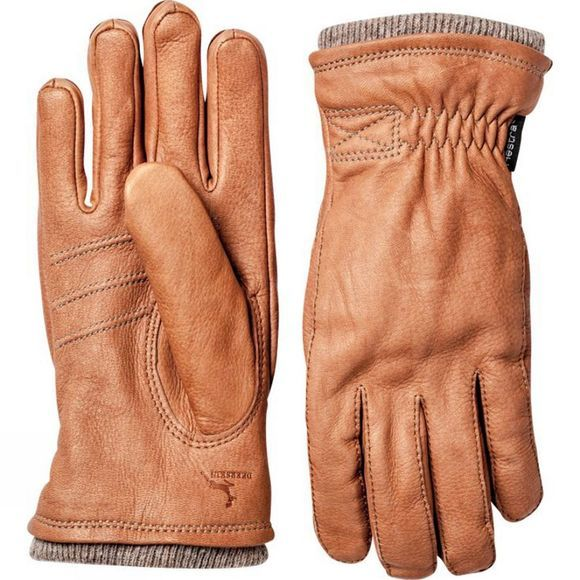 Hestra Mens Deerskin Swisswool Rib Cuff Glove Tan/Brown