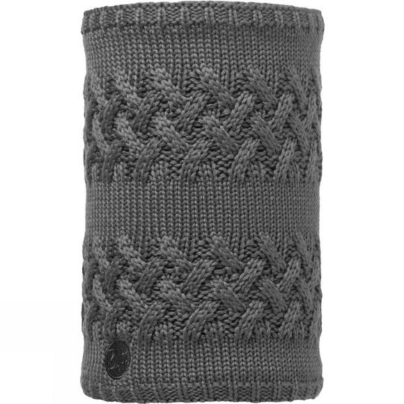 Buff Knitted and Polar Fleece Neckwarmer Plain Savva Grey Castlerock / Grey