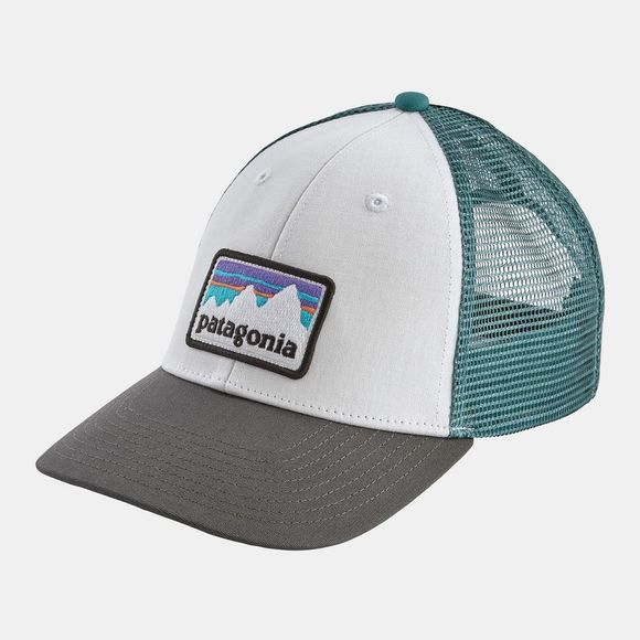 Patagonia Mens Shop Sticker Patch Lo Pro Trucker Hat White/Forge Grey
