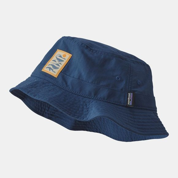 Patagonia Patago Wavefarer Bucket Hat Whale Tail Tubes Stone Blue