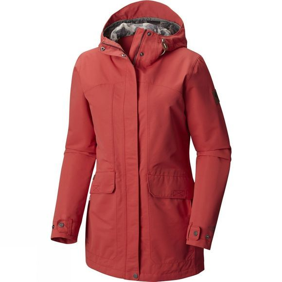 Columbia Womens South Canyon Long Hooded Jacket Sunset Red