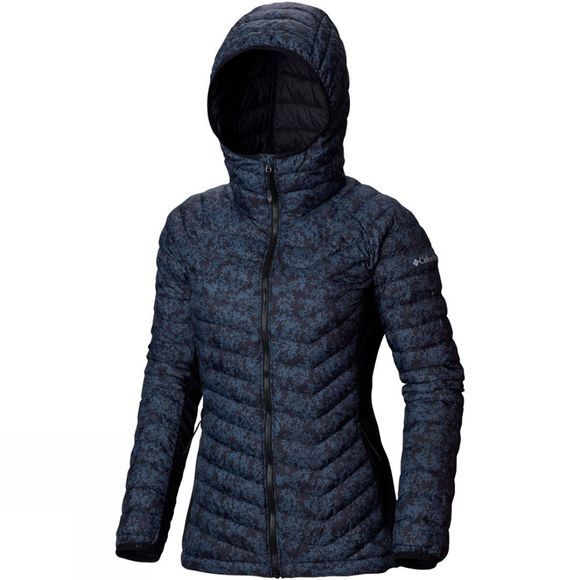 Columbia Womens Powder Pass Hooded Jacket Nocturnal Edelweiss Print