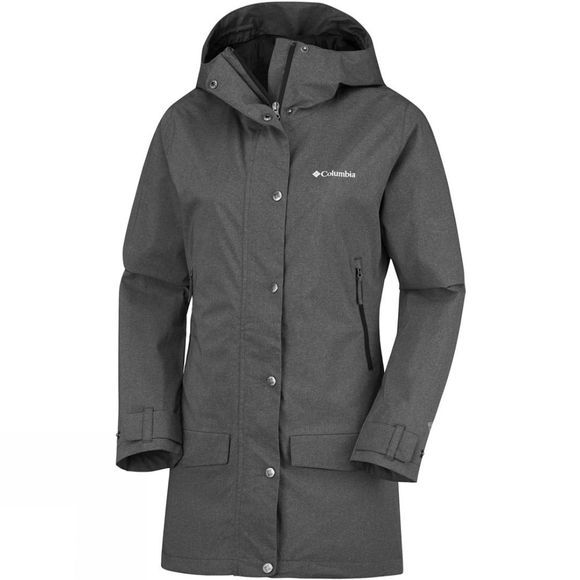 Columbia Womens Rainy Creek Trench Jacket Black Heather