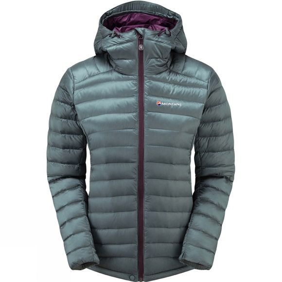 Montane Womens Featherlite Down Jacket Stratus Grey/Saskatoon berry