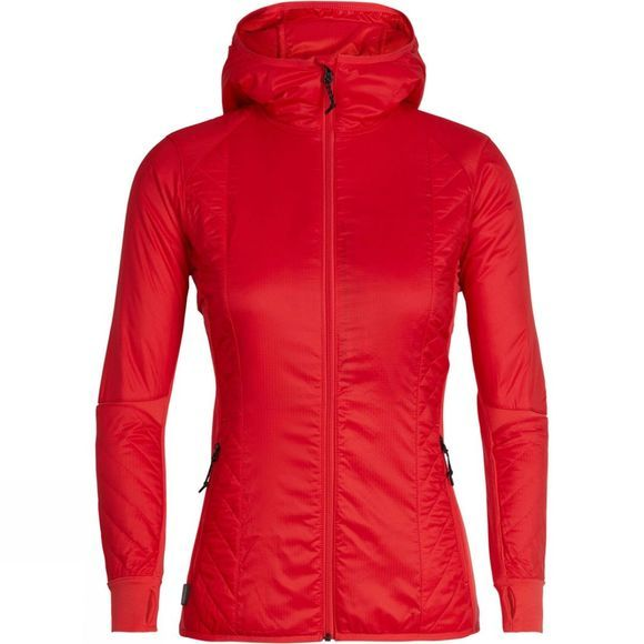 Icebreaker Womens Helix LS Zip Hood  Embe / Jet Heather
