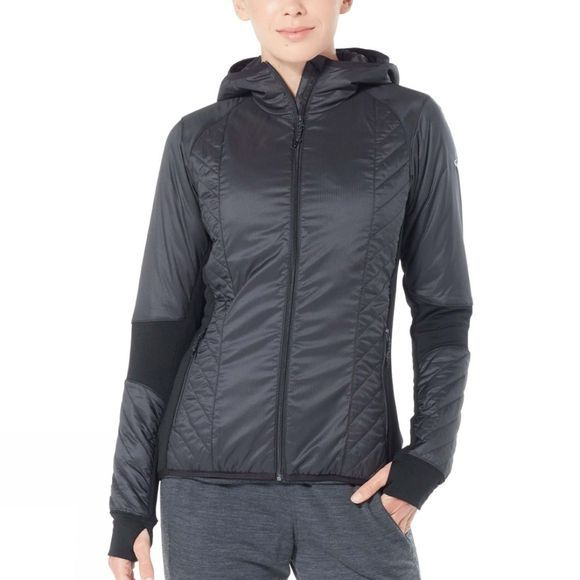 Icebreaker Womens Helix LS Zip Hood  Black/Jet Heather