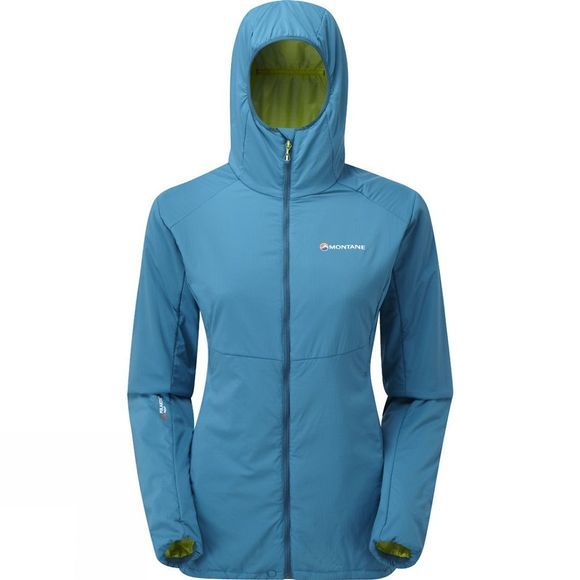 Montane Womens Halogen Alpha Jacket Zanskar Blue/Wild Lime