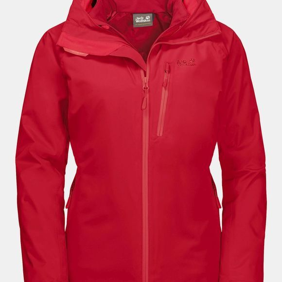 Jack Wolfskin Womens Ice Ridge 3-in-1 Jacket Red Fire
