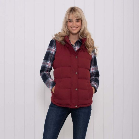 Brakeburn Womens Fur Trim Gilet Red