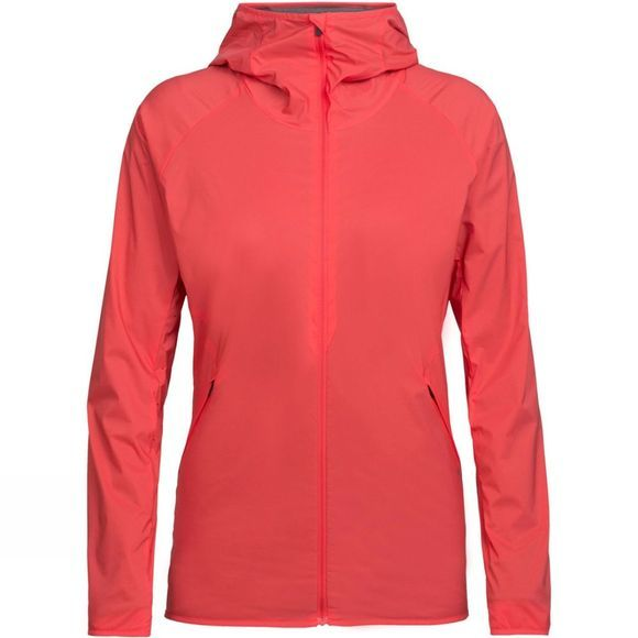 Icebreaker Womens Coriolis Hooded Windbreaker Top Poppy Red