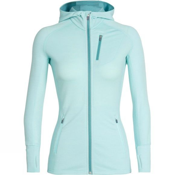 Icebreaker Womens Quantum Long Sleeve Zip Hood Aqua Splash / Ocean